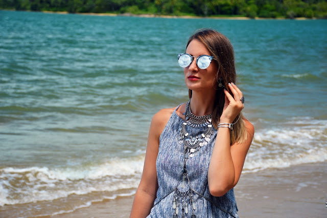 dressing up a plain grey top with layered silver boho jewellery