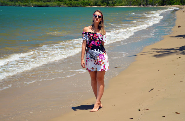 off shoulder floral print dress beach outfit