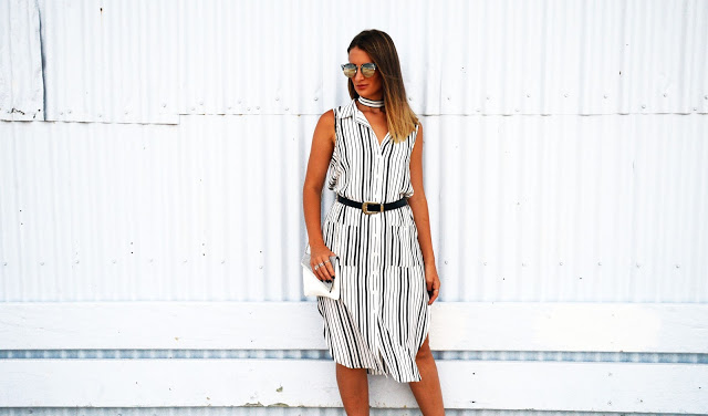 using a dress belt as a matching choker striped dress monochrome bag