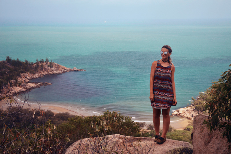 girl wearing boho dress beach view magnetic island