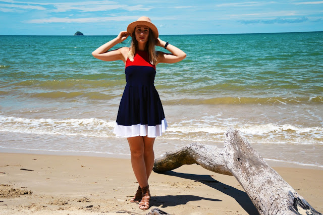 nautical red and navy dress beach outfit australia day