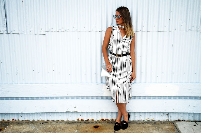 australian street style stripe shirt dress and faux gucci loafers
