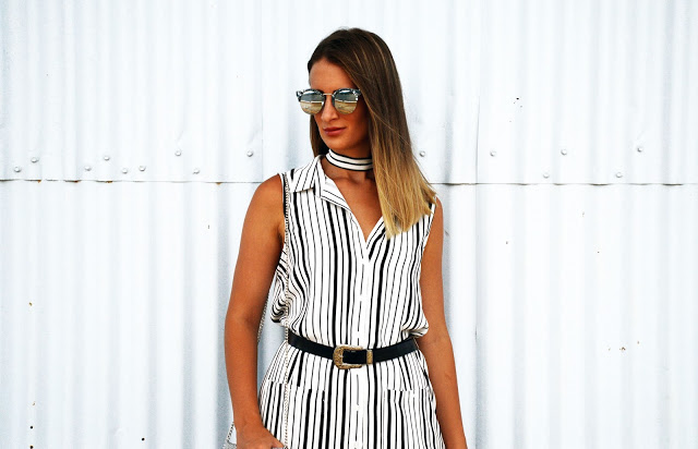 western boho buckle belt with stripe shirt dress and reflective marble sunglasses