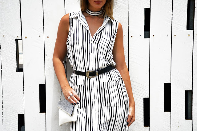 stripe shirt dress with boho western buckle belt
