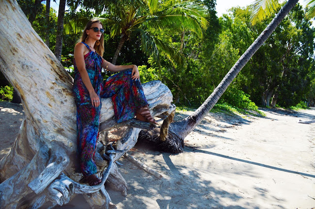 beach outfit editorial wide leg 70s jumpsuit