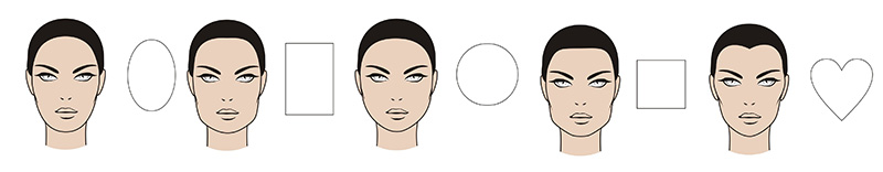 different female face shapes oval face square face round face heart face