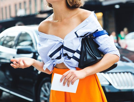 off shoulder button up shirt street style