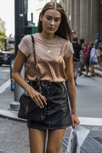 silk cami layered over t shirt outfit idea street style