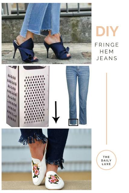 diy fringe hem jeans tutorial