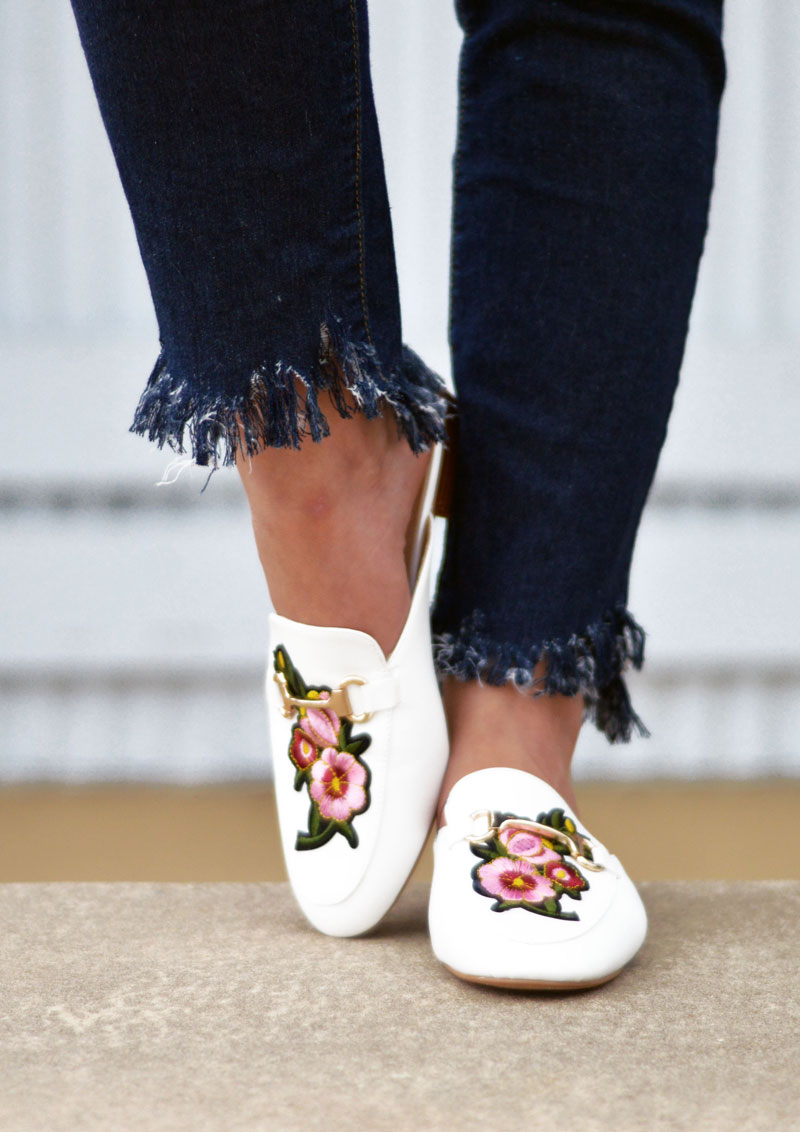 DIY Fringe Hem Jeans & Embroidered Loafers