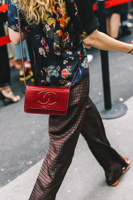 fashion week outfit checked pants red chanel bag embroidered jacket