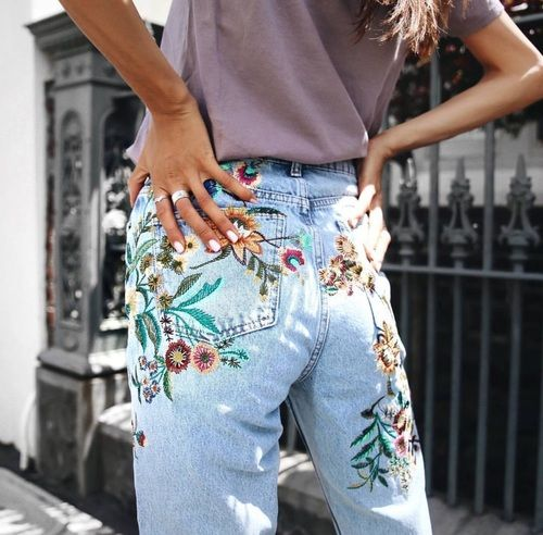 embroidered floral denim jeans street style outfit details