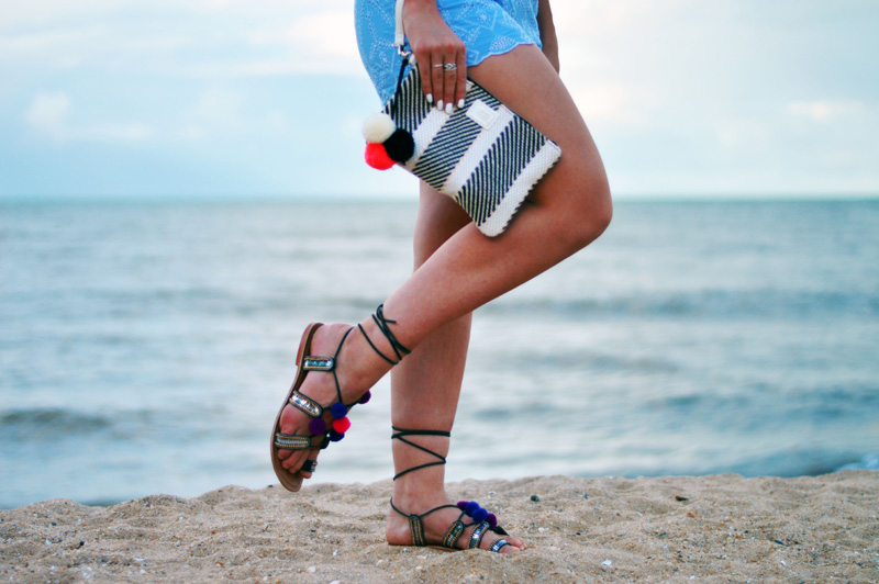 outfit details pom pom sandals and pom pom monochrome handbag