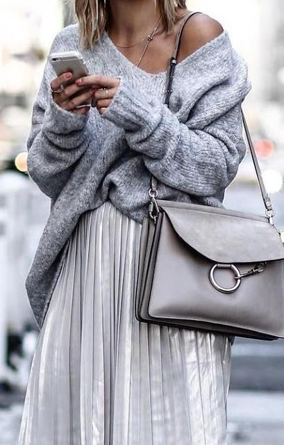 street style look mixing silver and grey silver pleated metallic skirt