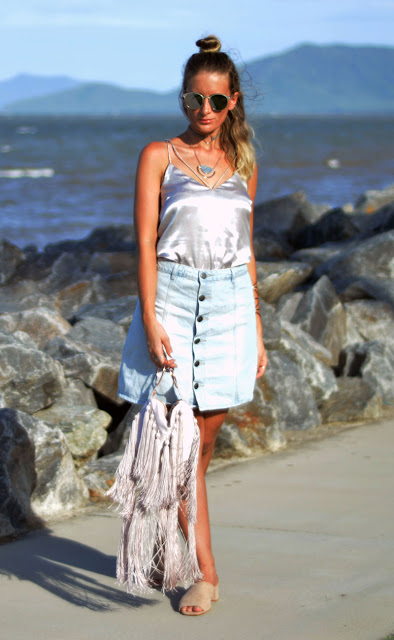 outfit idea silver cami and denim skirt street style fashion blogger