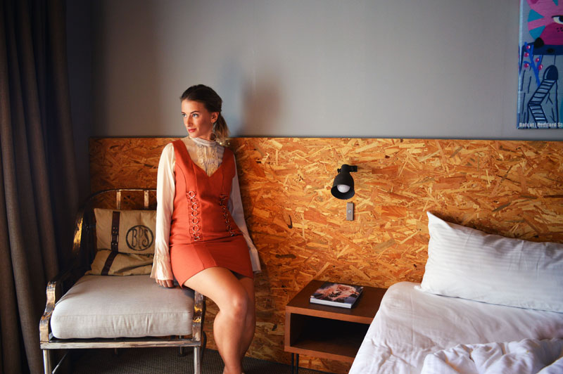 wearing cameo collective dress for MBFWA in the urban newtown king superior suite