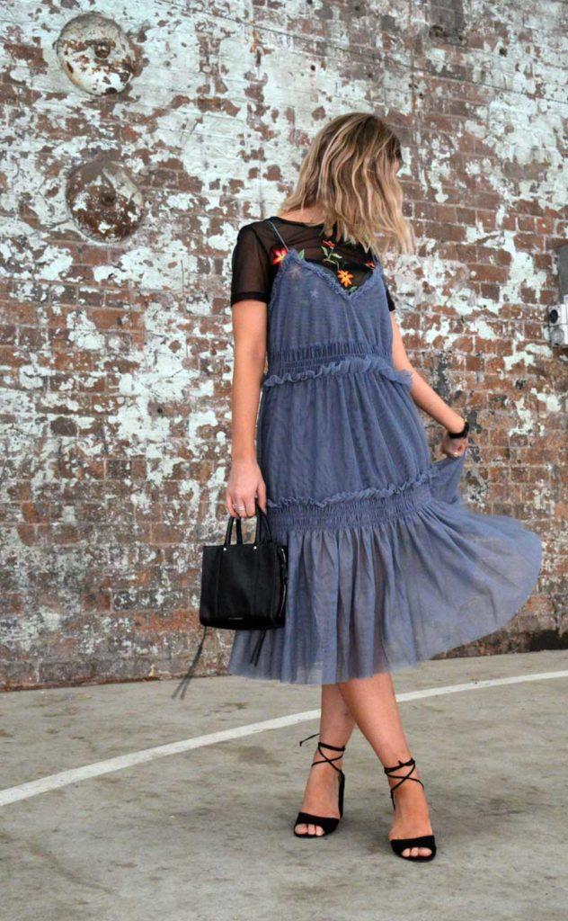 MBFWA fashion week street style ruffle dress over floral embroidered t shirt with rebecca minkoff bag and prada cinema sunglasses