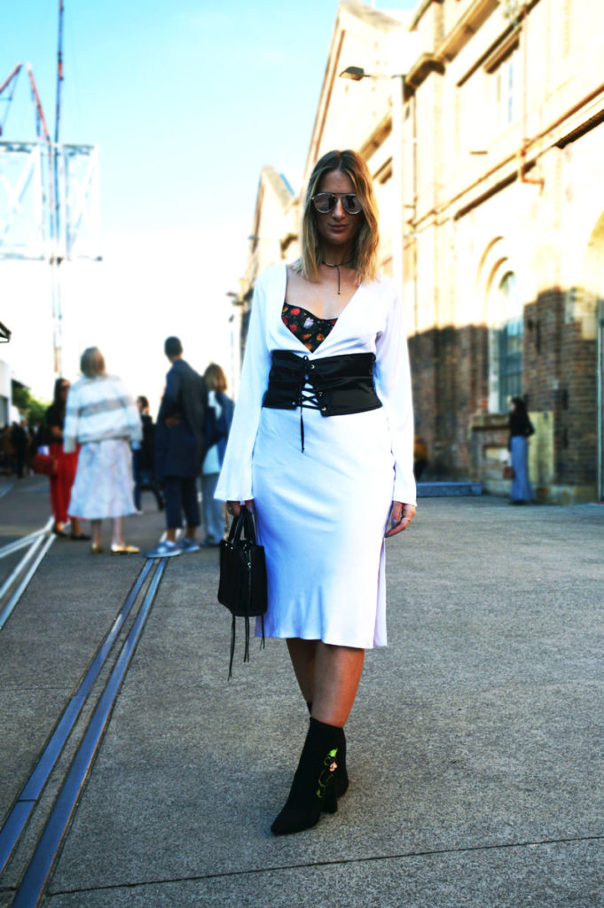 fashion week street style sydney mbfwa dyspnea white slip dress black corset belt floral embroidered black ankle boots