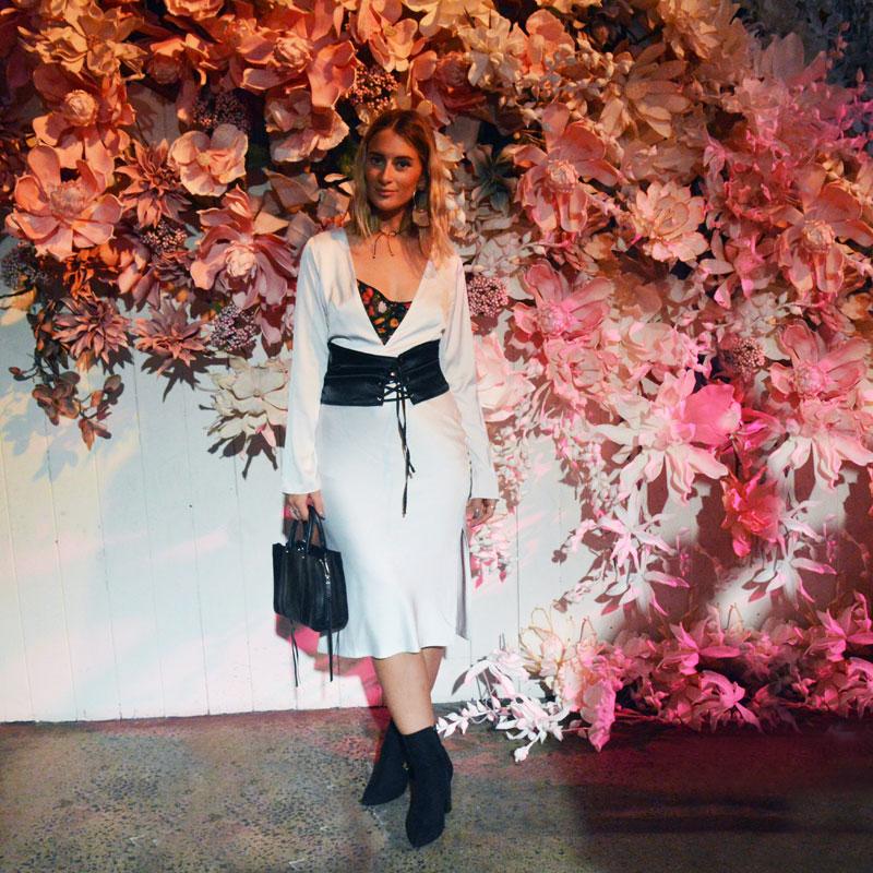 fashion week street style sydney mbfwa dyspnea white slip dress black corset belt floral embroidered black ankle boots steven khalil resort 18 show