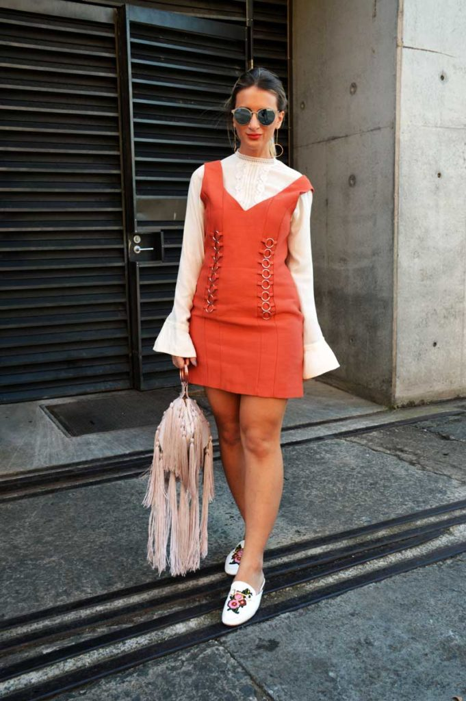 mbfwa street style cameo collective circle detail dress over white victoriana blouse with statement fringe handbag