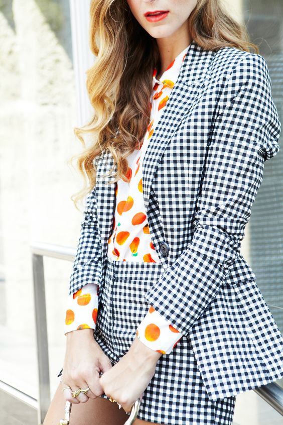 gingham blazer and pants styled with orange fruit print shirt outfit inspiration