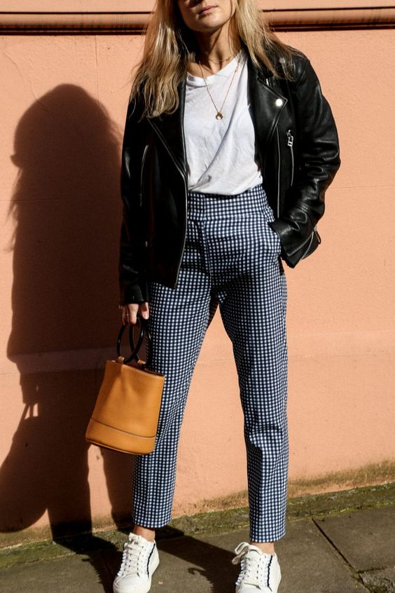 winter gingham outfit gingham pants with white top and leather jacket