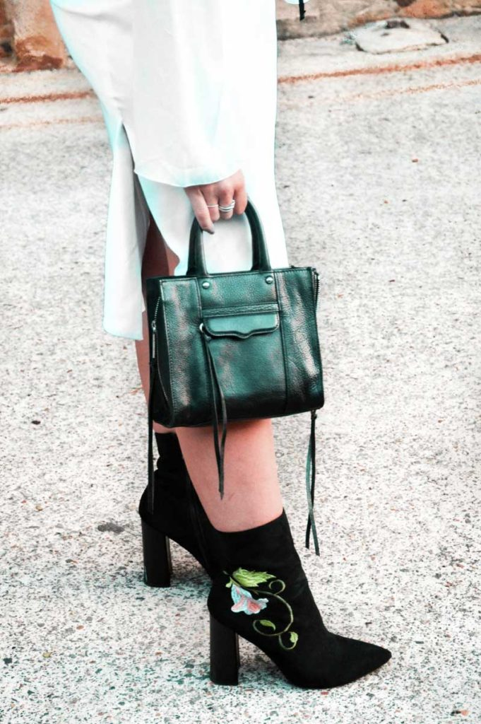street style details black embroidered ankle boots sock boots boohoo rebecca minkoff black micro bag