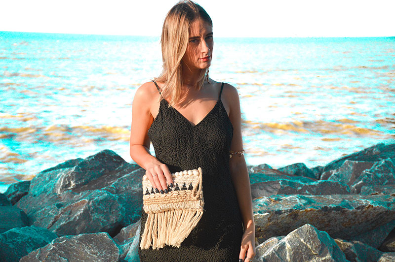 evening outfit black lace pilgrim dress and shell clutch blogger style