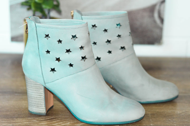 grey star print heeled ankle boots midas shoes