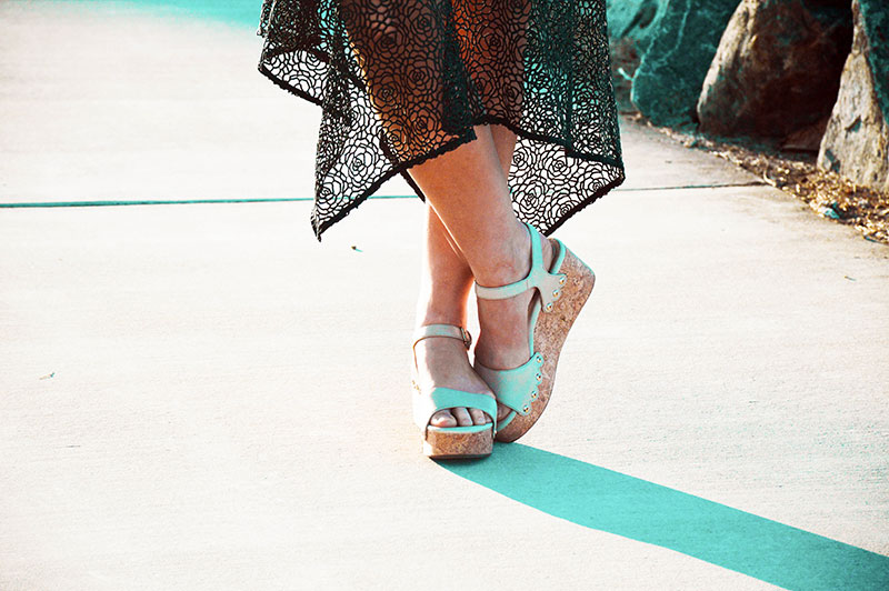 outfit details beige wedge heels detailed floral black lace pilgrim dress