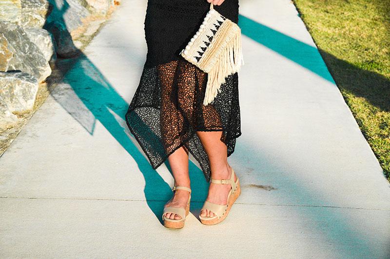outfit details beige wedge heels sandals floral black lace dress shell fringe boho clutch