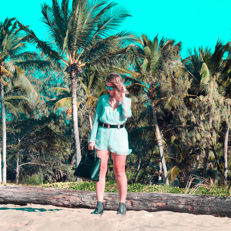 boho beach outfit pinstripe playsuit studded ankle boots