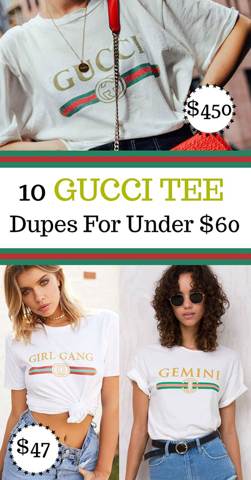 gucci slogan t-shirt tee with stripe lookalike dupes for under 60 dollars