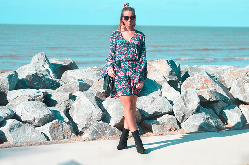 floral festival outfit dress with floral embroidered ankle boots and tassel earrings summer australian street style
