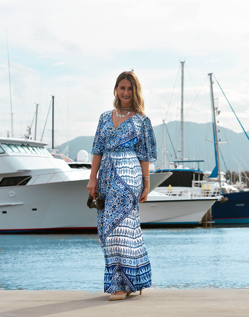 australian cairns blogger wearing hale bob blue boho printed maxi dress silver boho jewellery embellished clutch at yorkeys knob boat club
