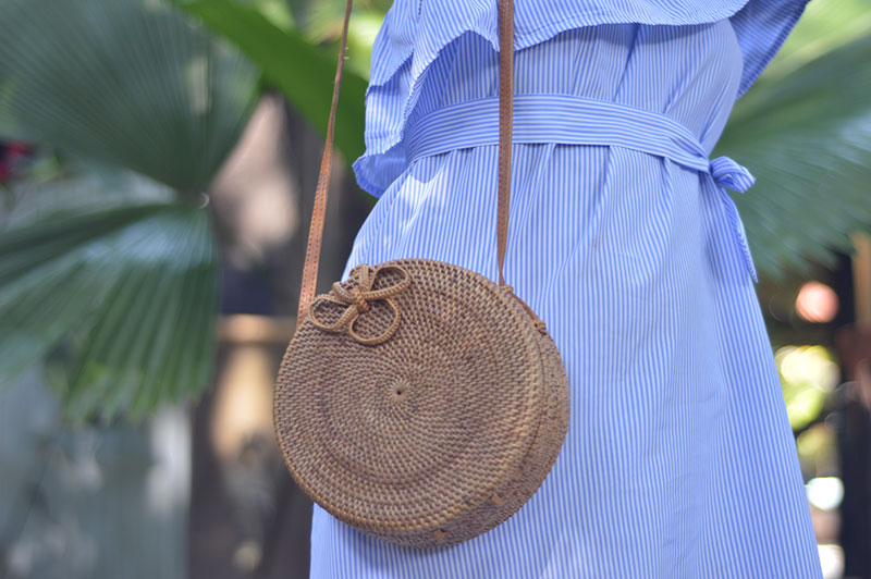 round rattan basket bag summer outfit details
