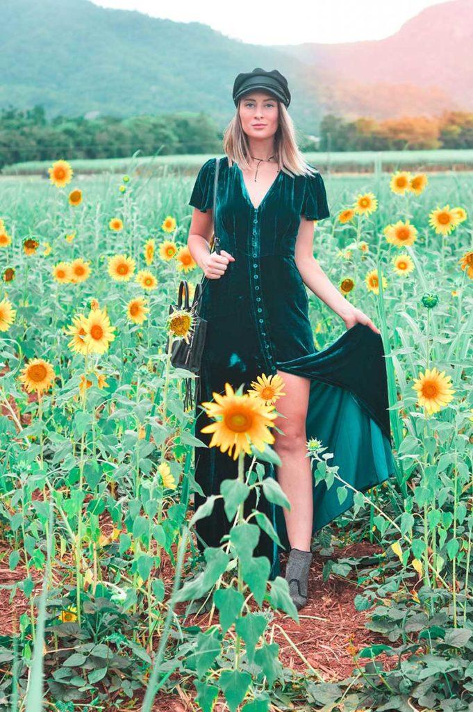 boho velvet festival outfit choker newsboy cap in sunflower field
