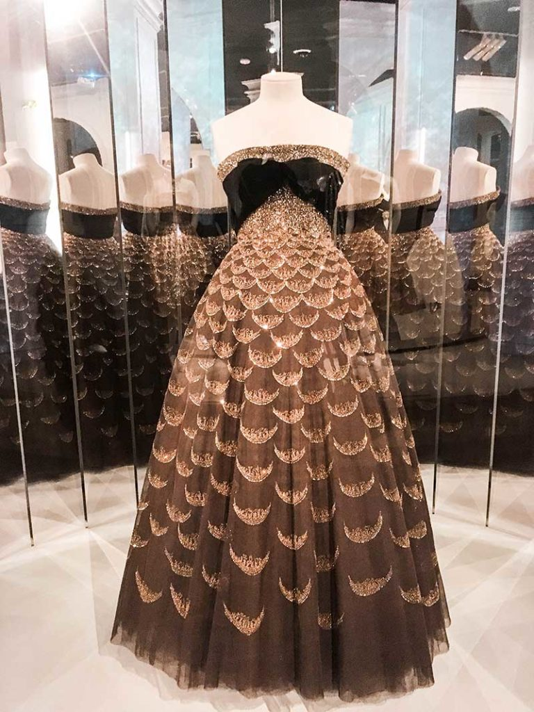 embellished dior couture dress at dior exhibition national gallery of victoria melbourne australia