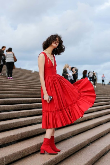 australian street style red ruffle dress red ankle boots summer red outfit