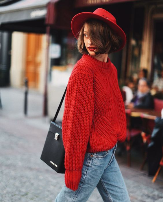 red winter outfit chunky red jumper and red fedora street style