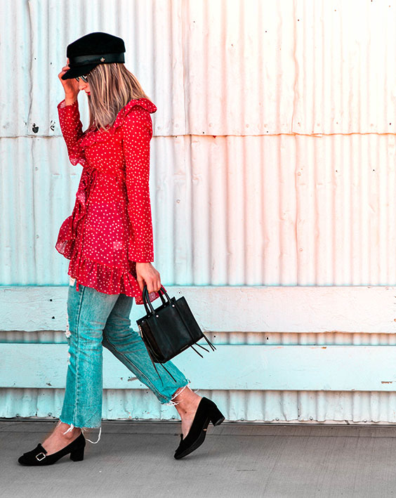 red star print ruffle wrap blouse distressed hem jeans gucci loafer dupes baker boy hat