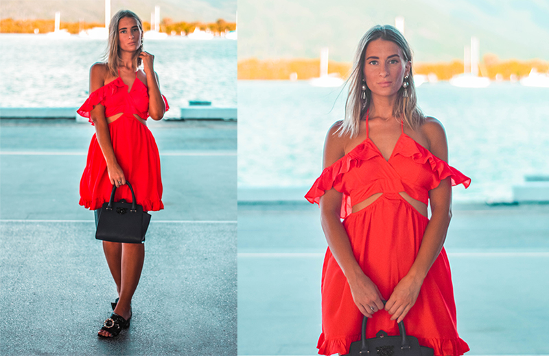 summer outfit red off shoulder ruffle dress with pearl embellished mules tropical summer style the daily luxe photographed at cairns wharf