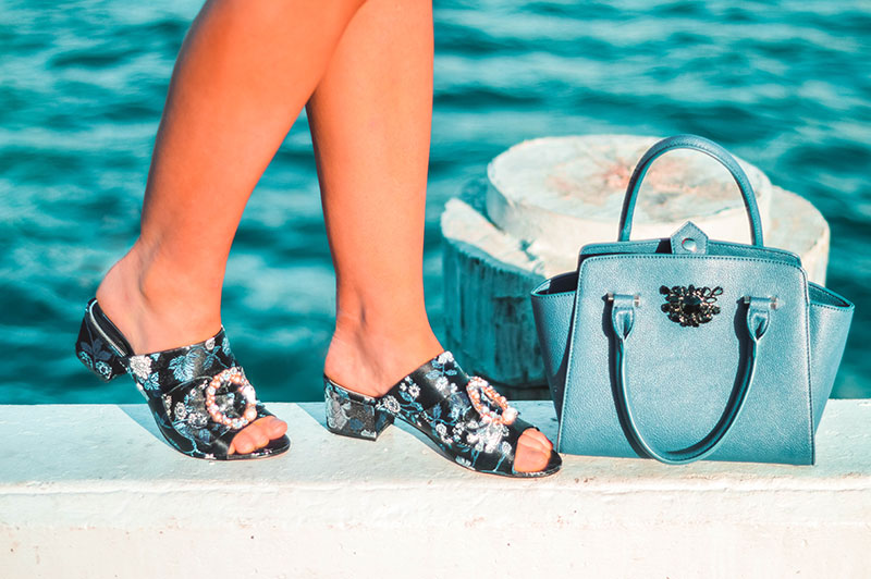 embellished shoe trend pearl and diamante embellished brocade mules and embellished blue handle handbag