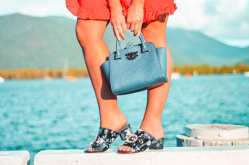 embellished shoes trend pearl diamante brocade mule heels navy handle top embellished handbag fashion blogger summer outfit idea cairns australia