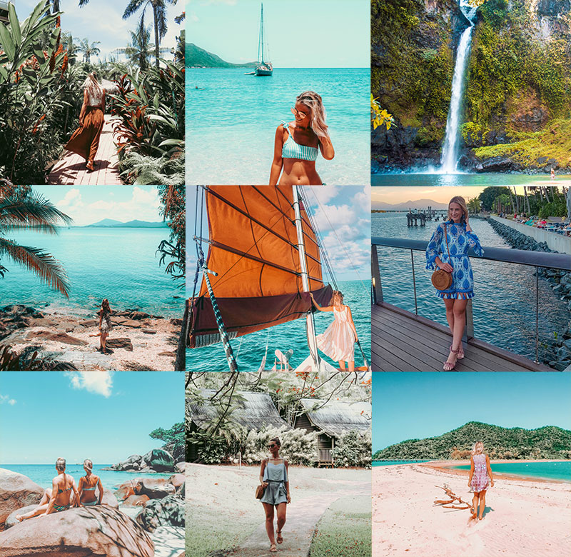 tropical instagram theme travel fashion blogger beach rainforest summer style