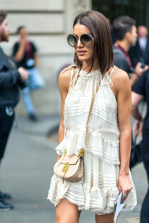 fashion week street style white ruffle dress and chloe drew bag