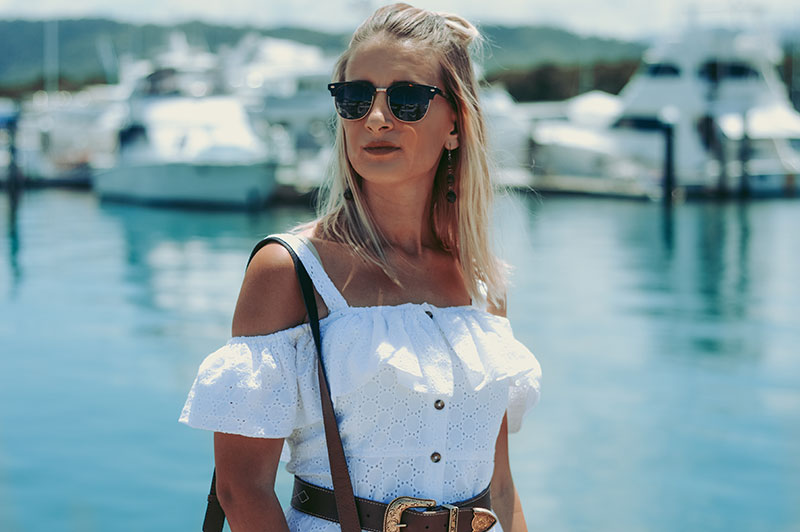 australian fashion blogger the daily luxe summer outfit details white off shoulder dress ray-ban sunglasses