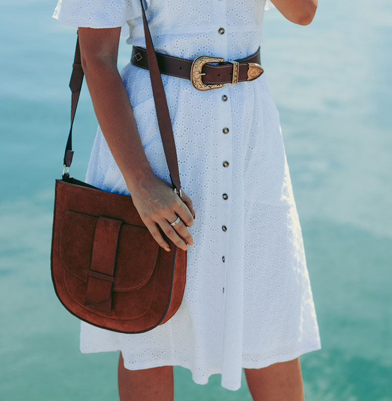 boho summer outfit details boho gold buckle leather belt and next tan shoulder bag