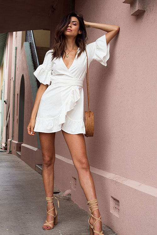 white frill linen wrap dress with nude lace up heels and rattan basket bag