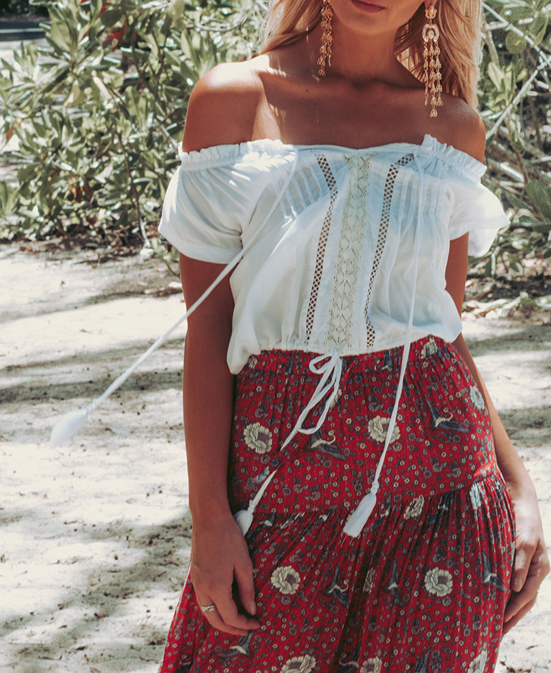 boho chic outfit details kivari off shoulder top auguste the label valentina skirt